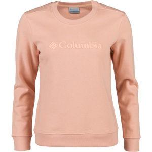 Columbia LOGO CREW světle růžová XS - Dámská mikina