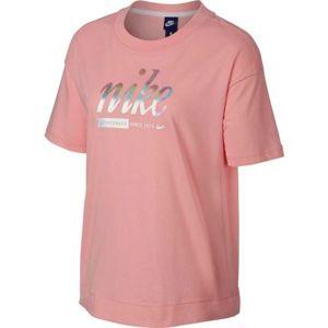 Nike SPOSTSWEAR TOP CROP METALLIC růžová S - Dámské tričko
