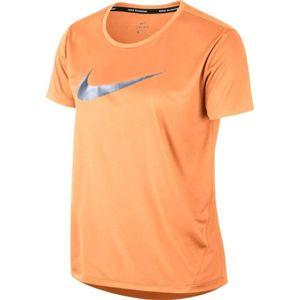 Nike MILER TOP SS HBR1 oranžová M - Dámské tričko