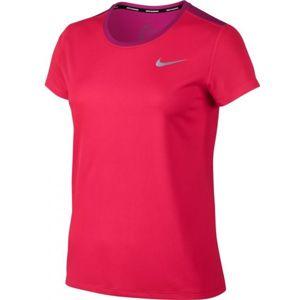 Nike BRTHE RAPID TOP SS růžová L - Dámské sportovní tričko