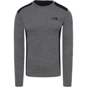 The North Face EASY L/S CREW NECK šedá XL - Pánské tričko s dlouhými rukávy