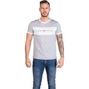 Tommy Hilfiger CN SS TEE LOGO FLAG šedá XL - Pánské tričko